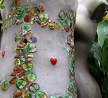 concrete flowerpot with glass bead mosaic  by betty porteus