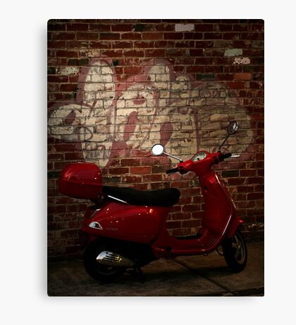 little red motorbike Canvas Print
