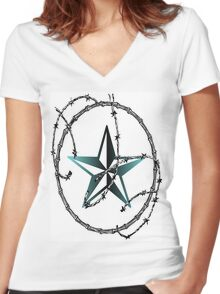 Barbed Wire Nautical Star Women's Fitted V-Neck T-Shirt