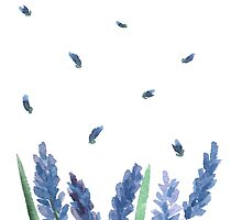 Vector watercolor lavender with blue bright watercolor ribbon. by OlgaBerlet