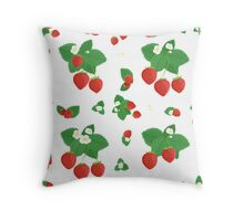 Strawberries with Leaves and Flowers Throw Pillow