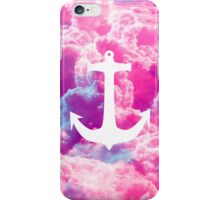 Girly Nautical Anchor Bright Pink Clouds Sky iPhone Case/Skin
