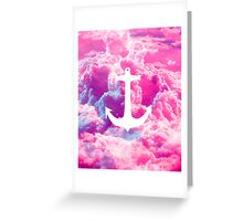 Girly Nautical Anchor Bright Pink Clouds Sky Greeting Card