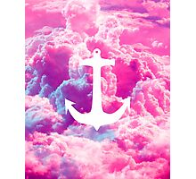 Girly Nautical Anchor Bright Pink Clouds Sky Photographic Print