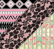 Abstract Pink Orange Aztec Black Girly Floral Lace by GirlyTrend