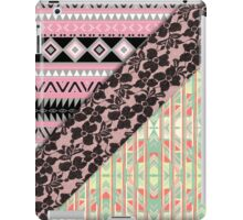 Abstract Pink Orange Aztec Black Girly Floral Lace iPad Case/Skin