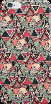 Retro Tribal Aztec Pattern Boho Orange Triangles by GirlyTrend