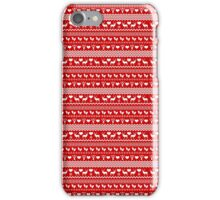 Red Reindeer Christmas Sweater Pattern iPhone Case/Skin