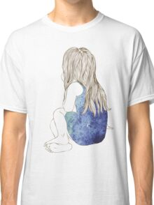 Little girl in a dress sitting back hair Classic T-Shirt