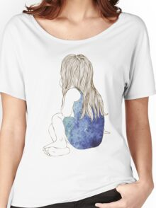 Little girl in a dress sitting back hair Women's Relaxed Fit T-Shirt