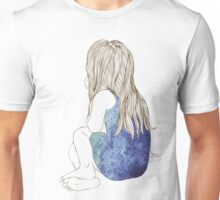 Little girl in a dress sitting back hair Unisex T-Shirt