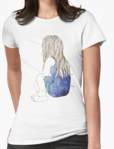 Little girl in a dress sitting back hair Womens Fitted T-Shirt