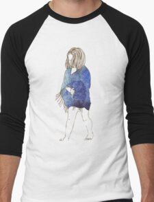 Little girl in a watercolor dress Men's Baseball ¾ T-Shirt