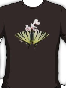 Scarce Swallowtail On Wild Garlic Flowers Vector Isolated T-Shirt