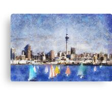 Auckland Harbour and Sky Tower, New Zealand Canvas Print