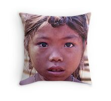 Lahu girl, northern Laos Throw Pillow