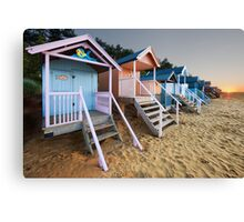 Beach Huts Sunset Canvas Print