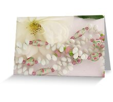 white necklace with pink flowers Greeting Card