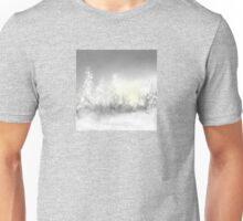 Snowy Trees in Gray and Yellow Unisex T-Shirt