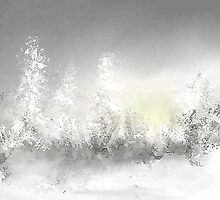 Snowy Trees in Gray and Yellow by Jessielee72