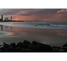 A stormy Burleigh sunset... Photographic Print