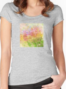 Abstract Flower Design in Aqua, Pink, Yellow, Green Women's Fitted Scoop T-Shirt
