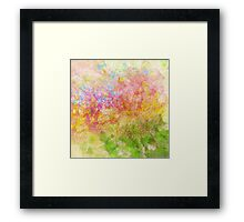 Abstract Flower Design in Aqua, Pink, Yellow, Green Framed Print