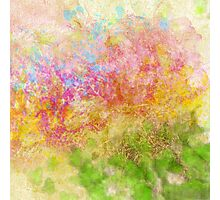 Abstract Flower Design in Aqua, Pink, Yellow, Green Photographic Print
