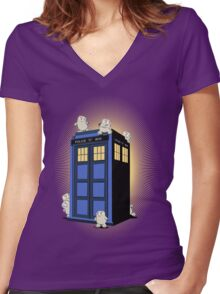 ADIPOSES CONQUERS THE TARDIS  Women's Fitted V-Neck T-Shirt