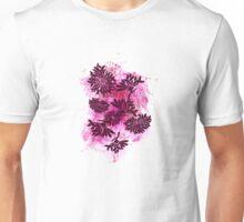 Peonies (black on pink) Unisex T-Shirt