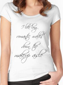 Romantic walks down the makeup aisle Women's Fitted Scoop T-Shirt