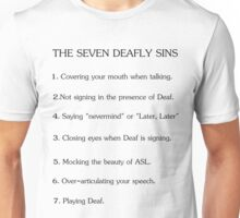 Deafly Sins - American sign language Unisex T-Shirt