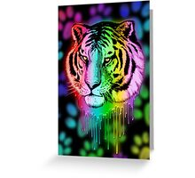 Tiger Neon Dripping Rainbow Colors Greeting Card