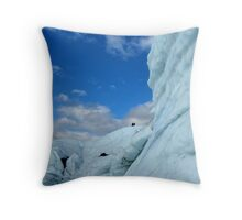 Ice climbers by overhung ice wall Throw Pillow