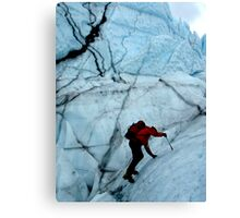 Ice climber hikes ice Canvas Print