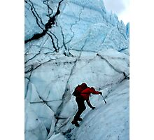 Ice climber hikes ice Photographic Print