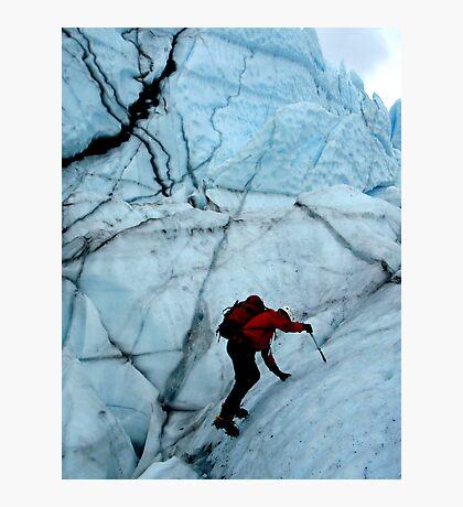 Ice climber hikes ice Photographic Print