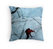 Ice climber hikes ice Throw Pillow