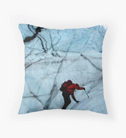 Ice climber hikes ice Throw Pillow