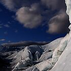 Far ice - climber in deep blue bliss by LichenRockArts