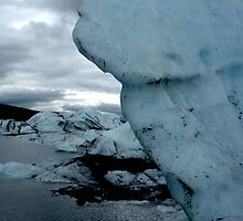 Ice pillar over lake by LichenRockArts