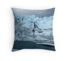 Sheer ice cliffs to lake Throw Pillow