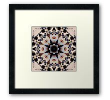 Geometric Stencil Gothic Cathedral Rosette Stained Glass Medallion Mandala Tile Pattern Cream and Blue Framed Print