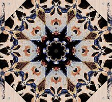Geometric Stencil Gothic Cathedral Rosette Stained Glass Medallion Mandala Tile Pattern Cream and Blue by jocelynsart
