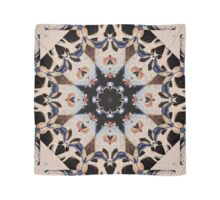 Geometric Stencil Gothic Cathedral Rosette Stained Glass Medallion Mandala Tile Pattern Cream and Blue Scarf
