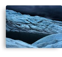 Stormy super dark glacier Canvas Print