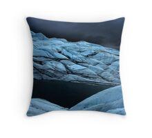 Stormy super dark glacier Throw Pillow