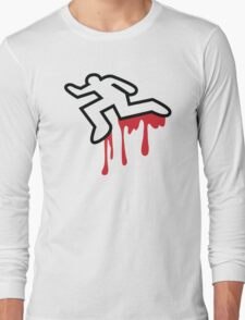 Coroner murder victim outline with dripping blood Long Sleeve T-Shirt