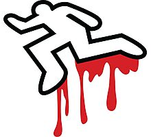 Coroner murder victim outline with dripping blood Photographic Print
