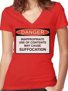 Danger - May Cause Suffocation Women's Fitted V-Neck T-Shirt